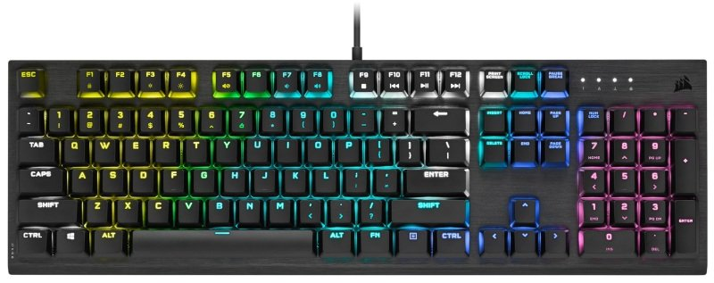 CORSAIR K60 RGB PRO LOW PROFILE Mechanical Wired CHERRY MX Low Profile SPEED Switch Keyboard with RGB Backlighting - Black