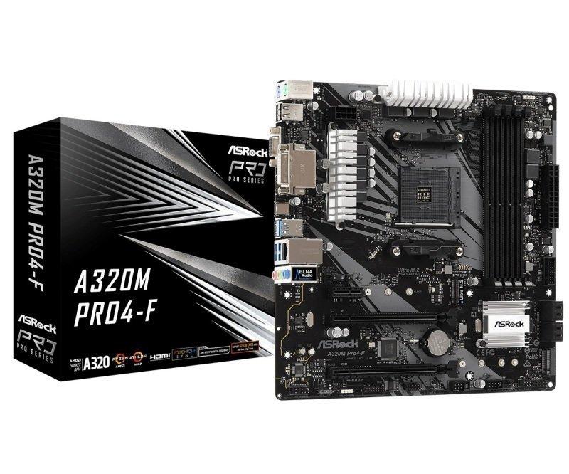 EXDISPLAY ASRock A320M PRO4-F AM4 DDR4 mATX Motherboard
