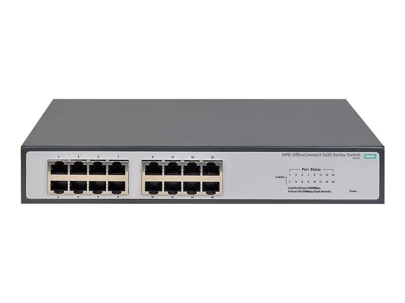 HPE 1420-16G - Switch - 16 Ports - Unmanaged - Rack-mountable 1U