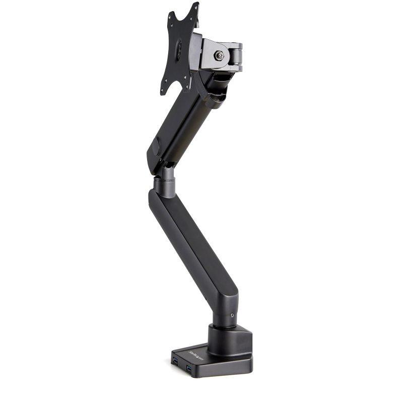Desk Mount Monitor Arm with 2x USB 3.0 ports - Slim Full Motion Adjustable Single Monitor VESA Mount up to 8kg Display - Ergonomic Articulating Arm - Desk Clamp/Grommet