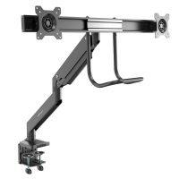 "Desk Mount Dual Monitor Arm - Ergonomic Dual Monitor VESA Mount 32"" (17.6lb) Displays - Crossbar Handle for Synchronized Full Motion - Height Adjustable - C-Clamp/Grommet"