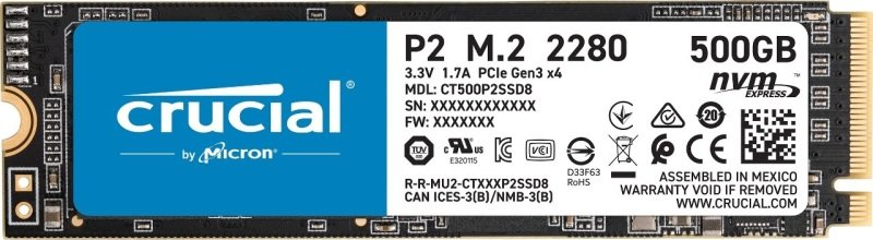 EXDISPLAY Crucial® P2 500GB 3D NAND NVMe PCIe M.2 SSD