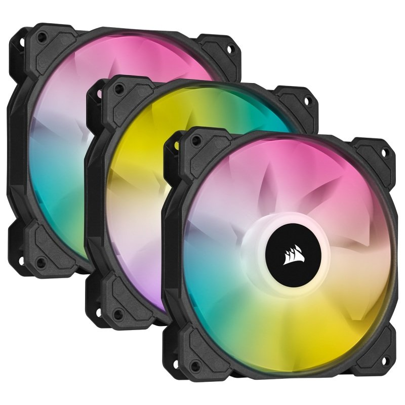 CORSAIR iCUE SP120 RGB ELITE Performance 120mm PWM Triple Fan Kit with iCUE Lighting Node CORE