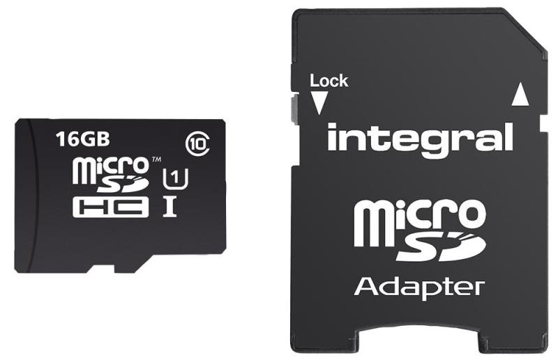 Integral 16GB microSD Class 10 UHS-1 U1 up to 90MBs