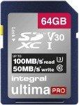 Integral 64GB SD UHS-1 U3 V30 Read 100MBs /Write 50MBs