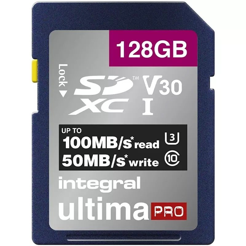 Integral 128GB SD UHS-1 U3 V30 Read 100MBs /Write 50MBs