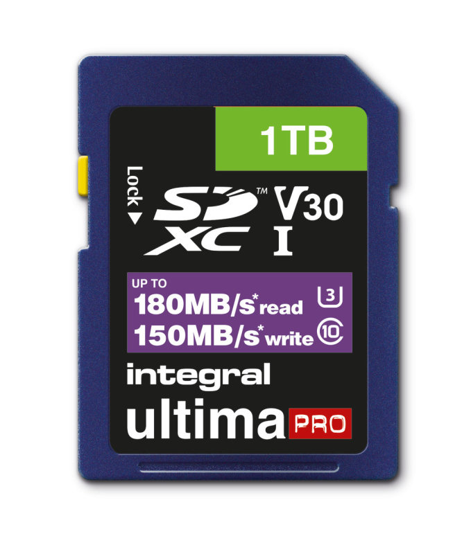 Integral 1TB SD UHS-1 U3 V30 Read 180MBs /Write 150MBs