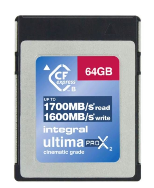 Integral 64GB CFexpress Card Read 1700MBs/Write 1600MBs Sustained Write 800MBs RAW 8K Video 4K Video @ 120fps