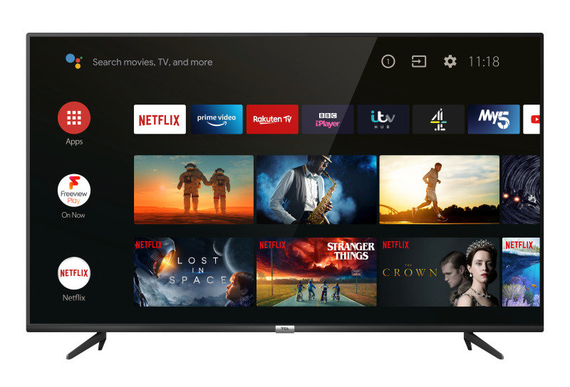 """TCL 43P615K 43"""" Television, 4K Ultra HD, Smart Android TV with Freeview Play"""