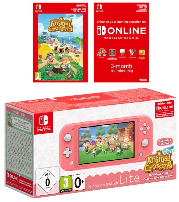 Nintendo Switch Lite Coral With Animal Crossing & 3 months Nintendo Switch Online