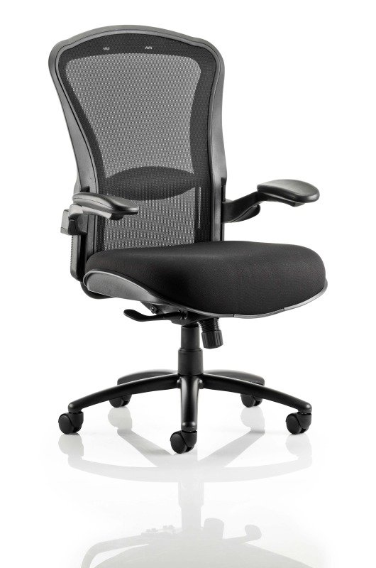 Houston Heavy Duty Task Operator Chair Mesh Back Black Fabric Seat With Arms