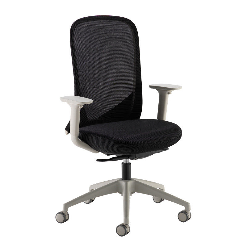 Sway Black Mesh Back Adjustable Operator Chair with Black Fabric Seat Grey Frame and Base
