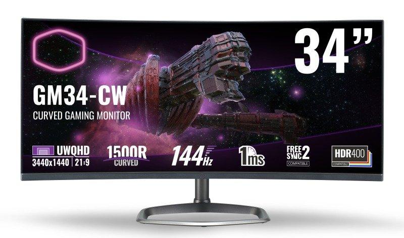 "Coolermaster GM34-CW 34"" UWQHD 144hz 1ms VA Gaming Monitor"