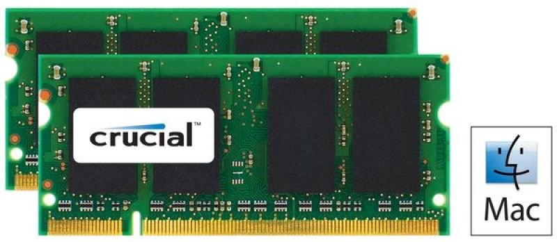 Crucial 4GB kit (2GBx2) DDR2 800MHz (PC26400) CL6 SODIMM 200 pin for Mac