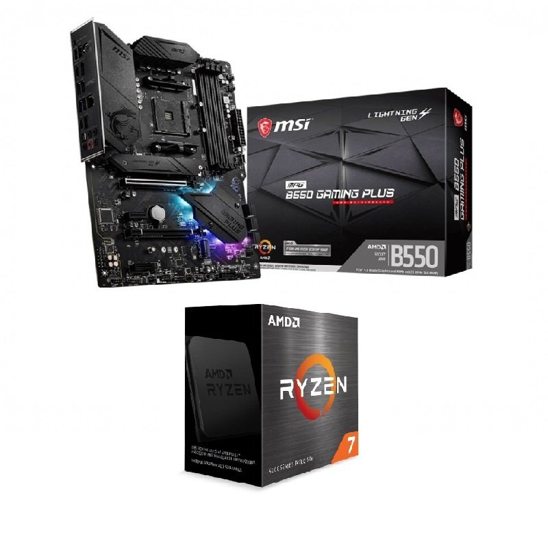 MSI MPG B550 GAMING PLUS ATX Motherboard + AMD Ryzen 7 5800X AM4 Processor Bundle