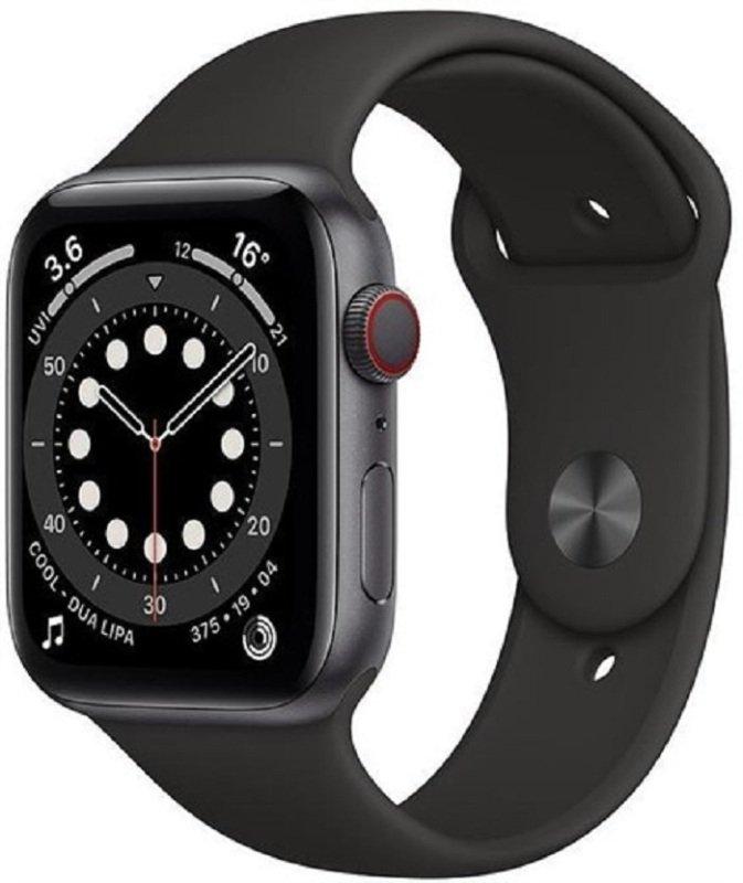 Apple Watch Series 6 GPS + Cellular, 44mm Space Grey Aluminium Case with Black Sport Band - Regular