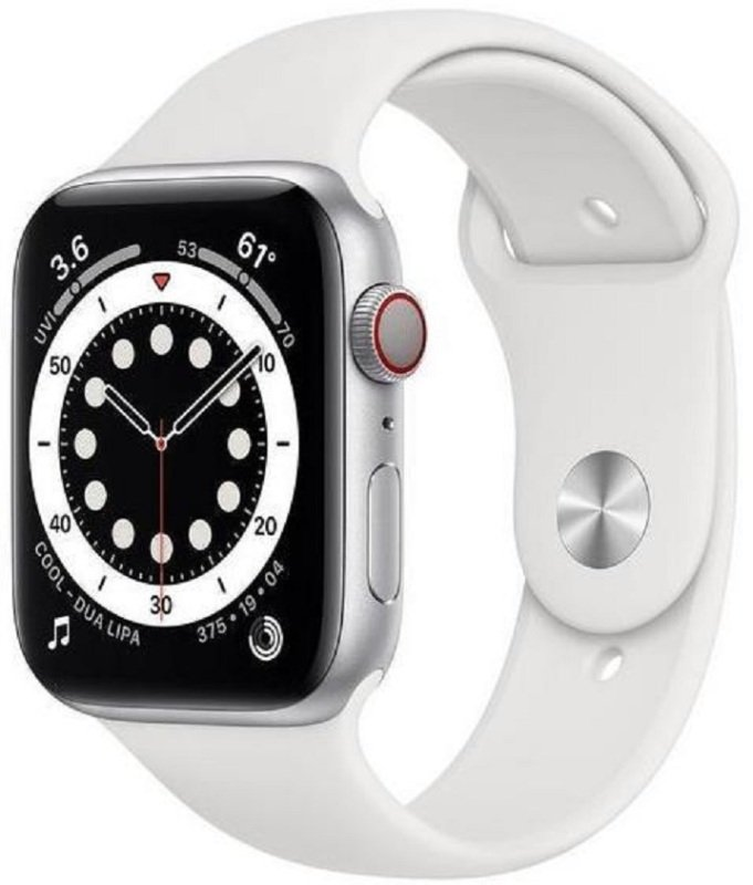 Apple Watch Series 6 GPS + Cellular, 44mm Silver Stainless Steel Case with White Sport Band - Regular