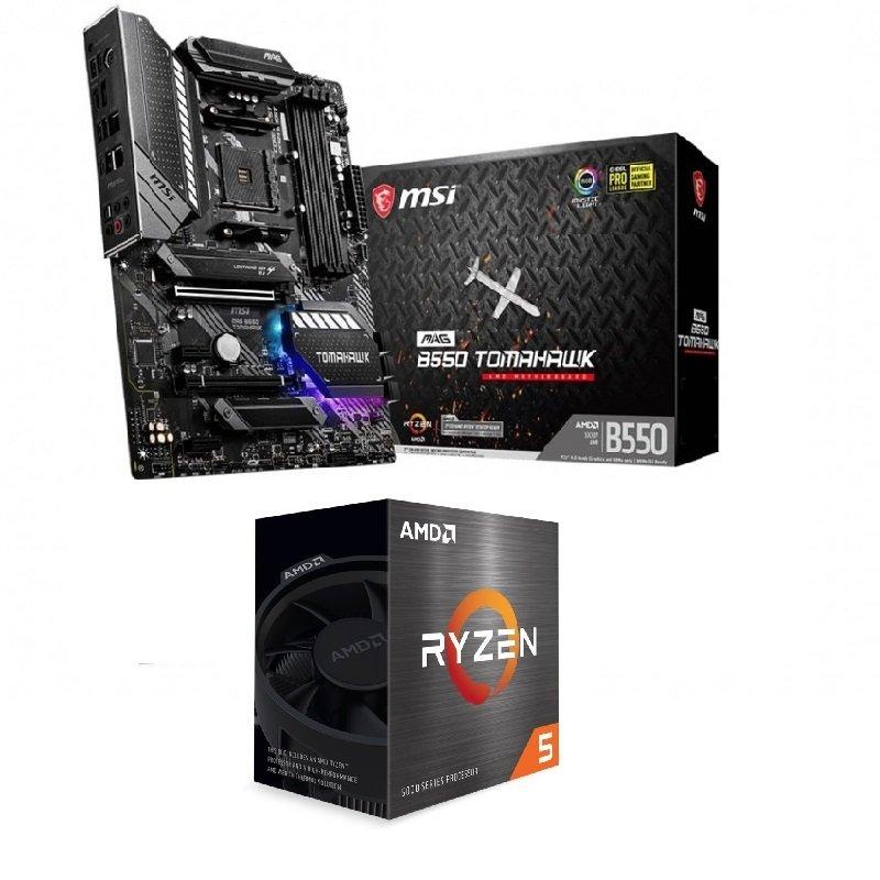MSI MAG B550 TOMAHAWK ATX Motherboard + AMD Ryzen 5 5600X AM4 Processor Bundle