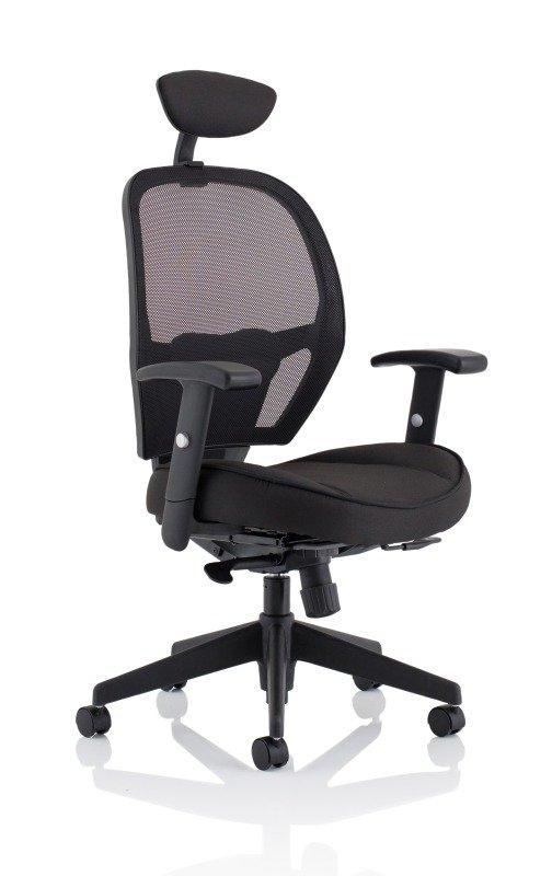 Denver Black Mesh Chair With Headrest