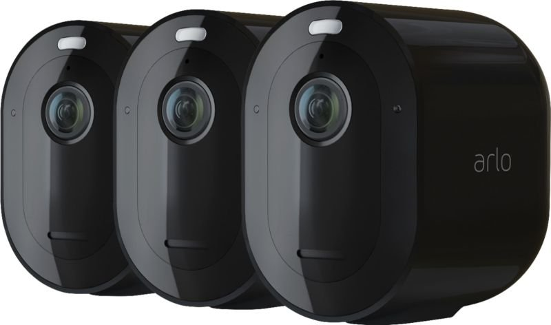 Arlo Pro 4 Wireless Spotlight Security Camera - Black (3 Pack)