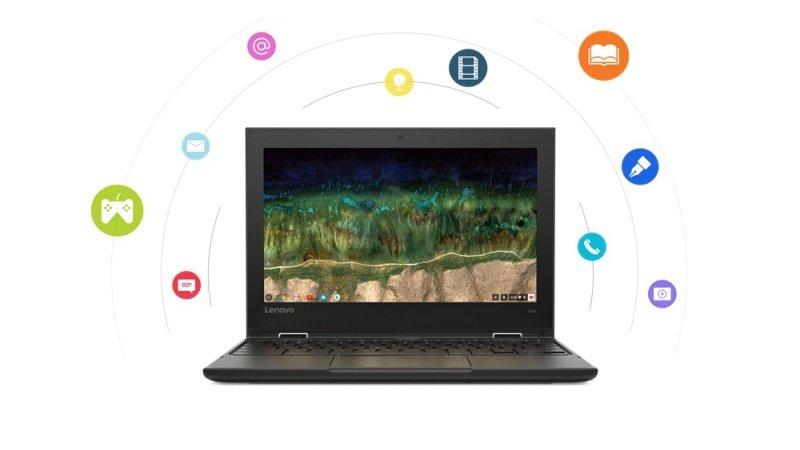 "Image of Lenovo 500e Intel Celeron N4120 8GB RAM 64GB eMMC 11.6"" HD Intel UHD Chrome OS Convertible Chromebook - 81MC001FUK"
