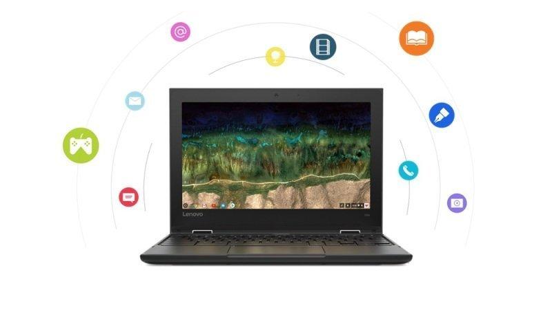 "Image of Lenovo 500e Intel Celeron N4120 4GB RAM 32GB eMMC 11.6"" HD Intel UHD Chrome OS Convertible Chromebook - 81MC001GUK"