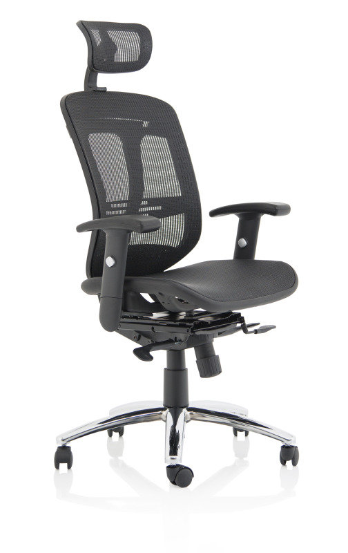 Mirage II Executive Chair Black Mesh With Arms With Headrest