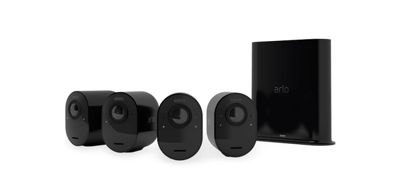 Image of Arlo Ultra2 Wireless Home Security Camera System CCTV, 6-month battery life, WiFi, Alarm, Colour Night Vision, Indoor or Outdoor, 4K UHD, 2-Way Audio, Spotlight, 180° View, 4 Camera Kit, Black