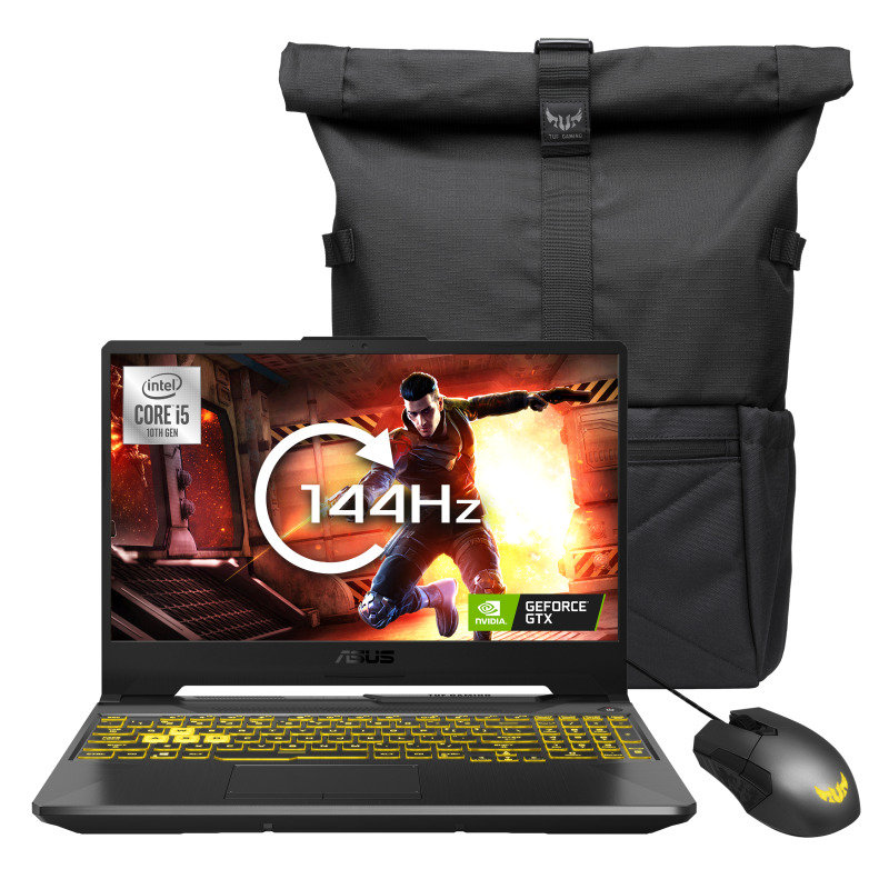 """Image of ASUS TUF Gaming F15 Core i5 8GB 512GB SSD GTX 1650 15.6"""" FHD Win10 Home Gaming Laptop - Bundled with Tuf Gaming Backpack and Gaming Mouse"""