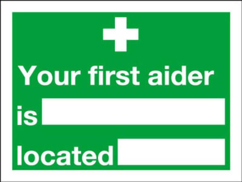 Extra Value 150x200mm Self Adhesive Safety Sign - First Aider