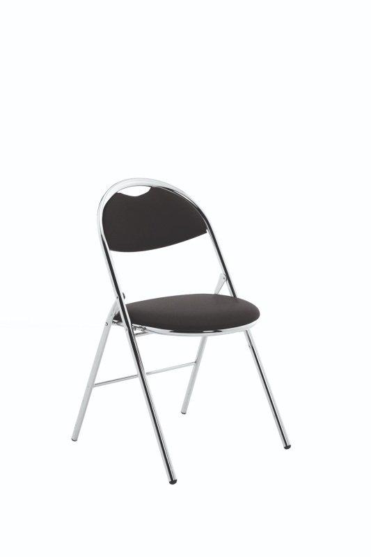 Milan Folding Black Vinyl Chrome Frame Chair