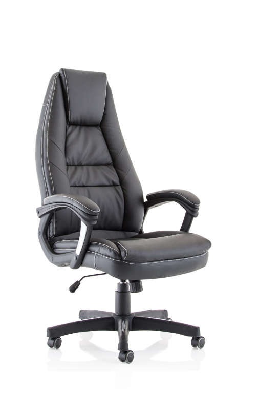 Lenox High Back Black Leather Look Chair