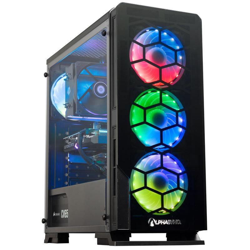 Image of AlphaSync Gaming Desktop PC, AMD Ryzen 7 3700X 3.6GHz, 16GB RAM, 2TB HDD, 500GB SSD, RTX 3060Ti, WiFi, Windows 11 Home