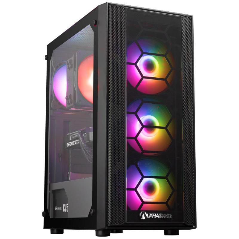 Image of AlphaSync Gaming Desktop PC, Intel Core i5 9600K 3.7GHz, 16GB RAM, 1TB HDD, 500GB SSD, GTX 1660 SUPER, WiFi, Windows 11 Home