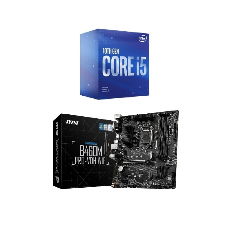 MSI B460M PRO-VDH WIFI mATX Motherboard + Intel Core i5 10400F Processor Bundle