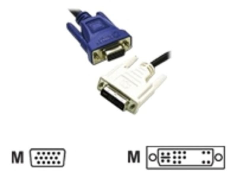 C2G, DVI-A Male to HD15 VGA Male Analogue Video Cable, 1m