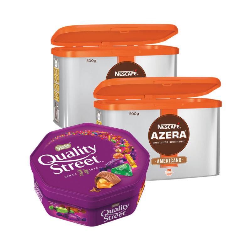 Nescafe Azera 500g 2pk & FREE box of Quality Street 650g