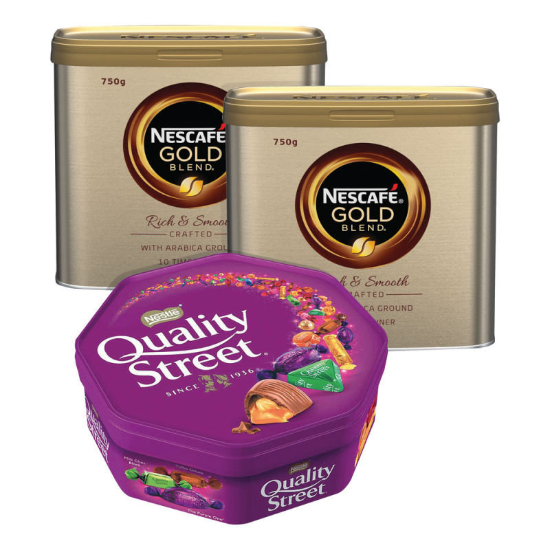 Nescafe Gold Blend 750g (Pack of 2) & FREE Quality Street 650g