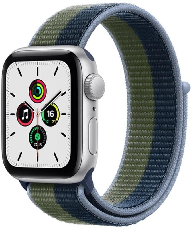 Apple Watch SE GPS + Cellular, 40mm Silver Aluminium Case with Abyss Blue/Moss Green Sport Loop