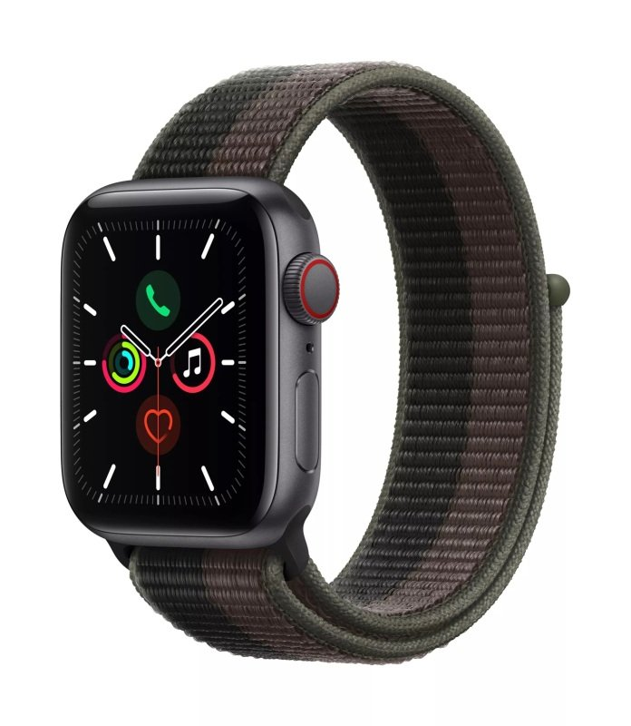 Apple Watch SE GPS + Cellular, 40mm Space Grey Aluminium Case with Tornado/Grey Sport Loop