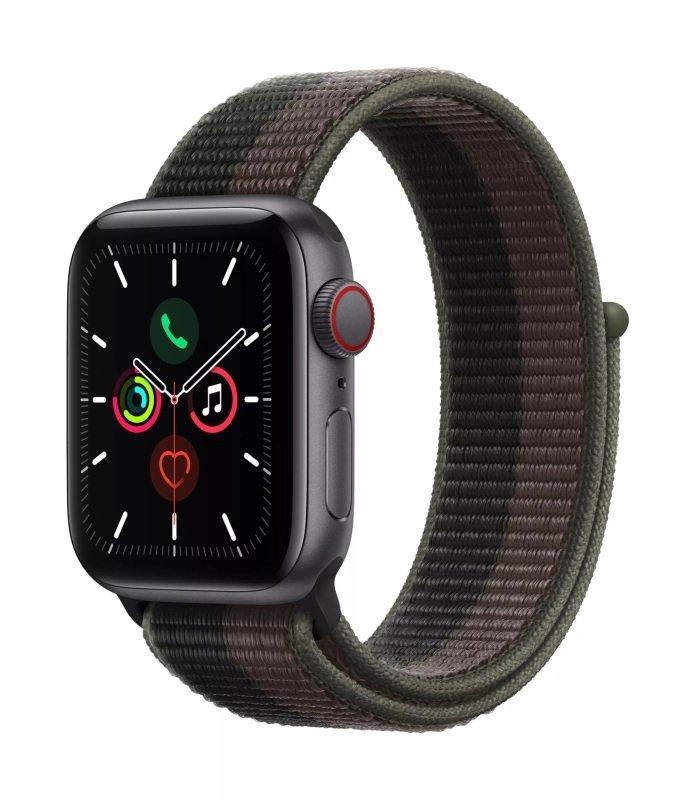 Image of Apple Watch SE GPS + Cellular, 44mm Space Grey Aluminium Case with Tornado/Grey Sport Loop
