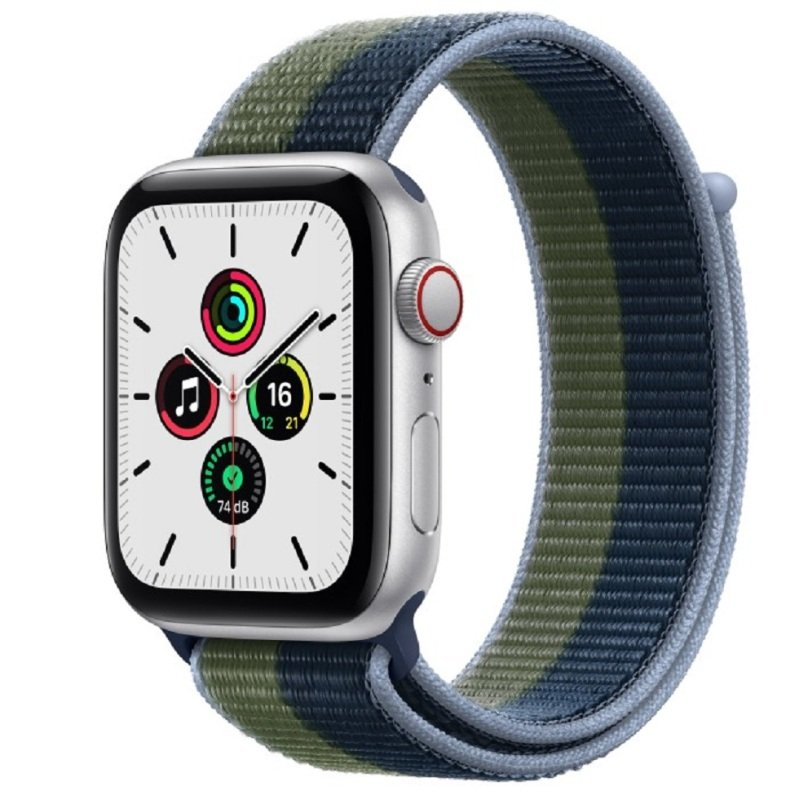Apple Watch SE GPS + Cellular, 44mm Silver Aluminium Case with Abyss Blue/Moss Green Sport Loop