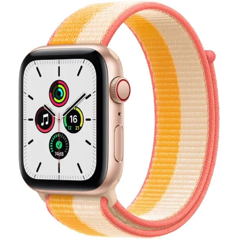 Apple Watch SE GPS + Cellular, 44mm Gold Aluminium Case with Maize/White Sport Loop