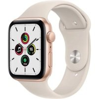 Apple Watch SE GPS, 40mm Gold Aluminium Case with Starlight Sport Band - Regular