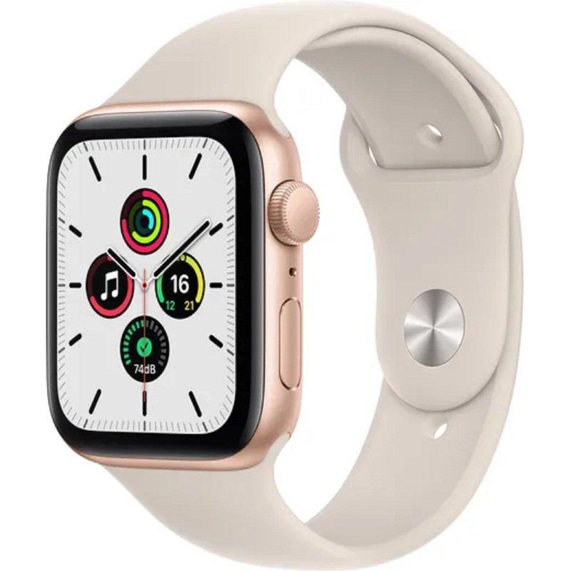 Apple Watch SE GPS + Cellular, 44mm Gold Aluminium Case with Starlight Sport Band - Regular
