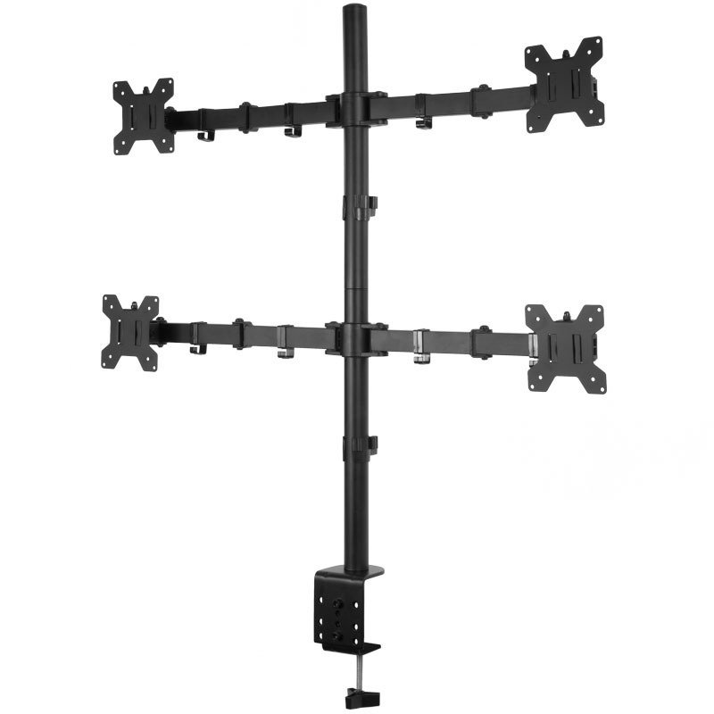 """Xenta Quad Monitor Mount for 13""""-32"""" Screens Double Arm Desk Stand Bracket with Clamp"""