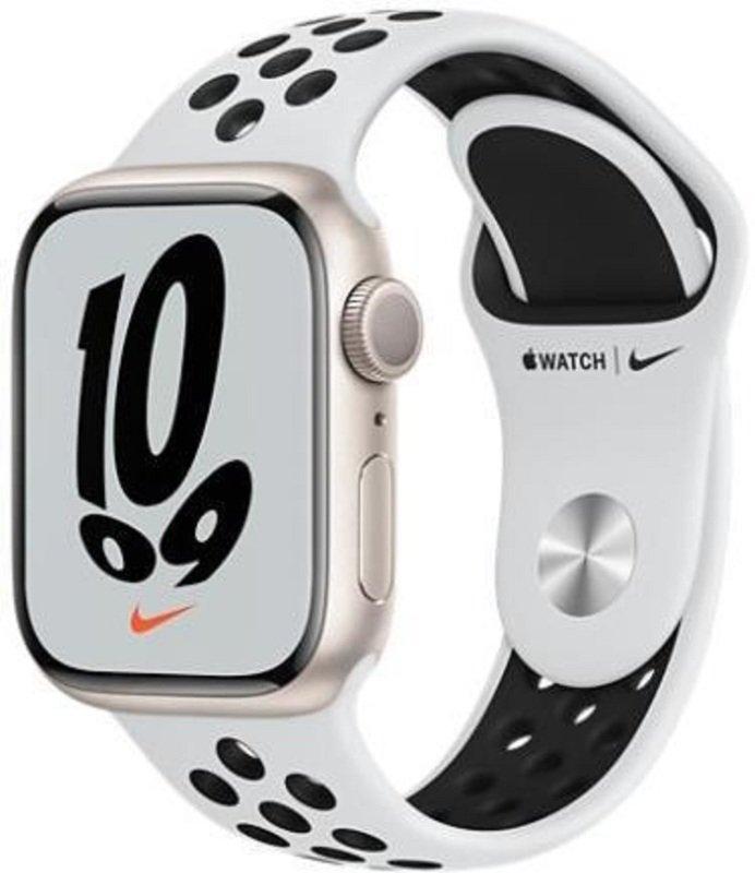 Apple Watch Series 7 GPS 41mm Starlight Aluminium Case with Pure Platinum/Black Nike Sport Band