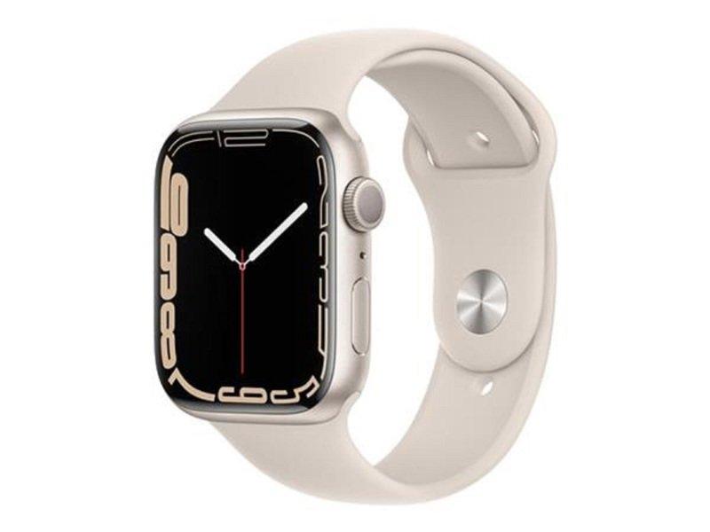 Apple Watch Series 7 GPS, 45mm Starlight Aluminium Case with Starlight Sport Band - Regular