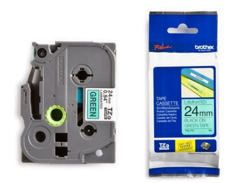 Brother TZE-751 LAMINATED TAPE 24MM 8M - BLACK ON GREEN