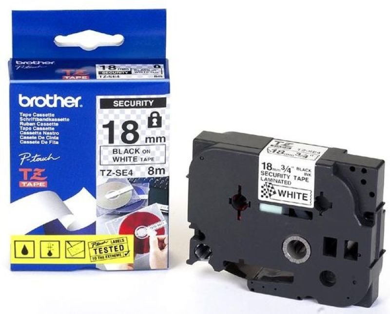 Brother TZe SE4 Security tape- Black on White